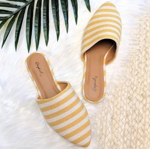 Sunny Striped Fabric Mule Slides